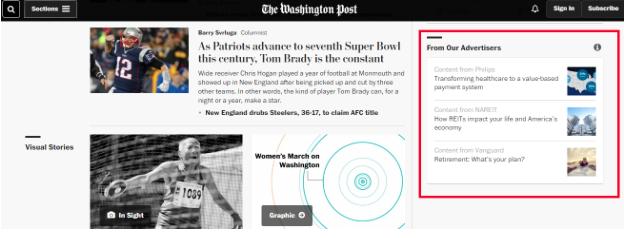 Пометка рекламных статей на сайте «The Washington Post»
