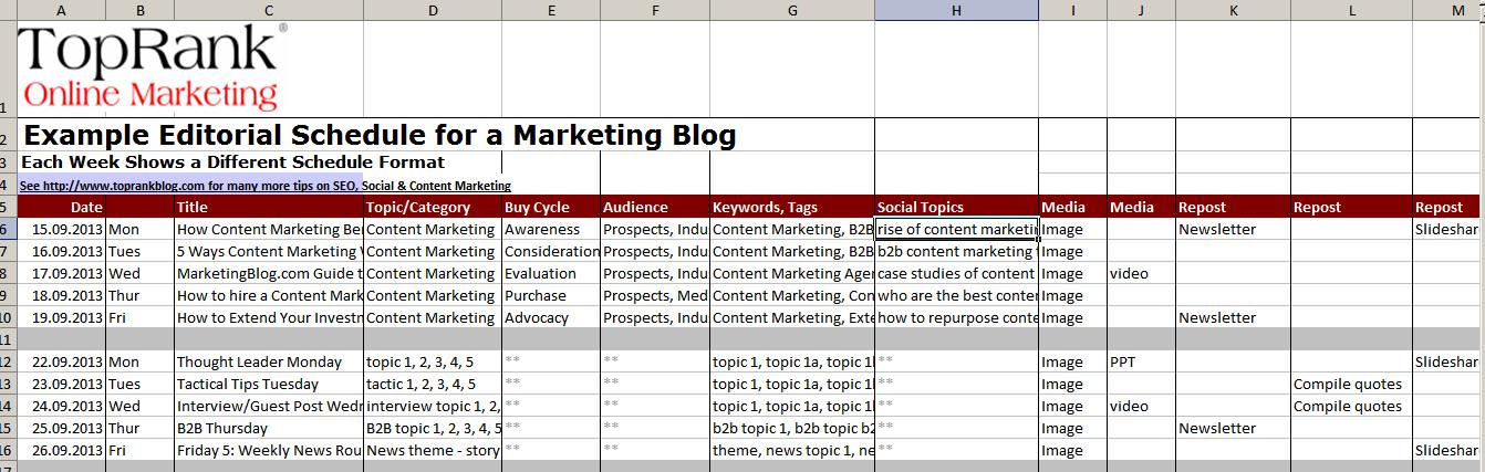 14 бесплатных шаблонов для составления контент-плана